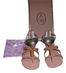 Ash Leather Lined Plate Rear Zipper Chic Design Natural Sandals