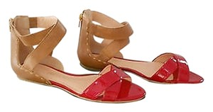 Luiza Barcelos Crisscross Straps Back Zip Cognac/Red Sandals