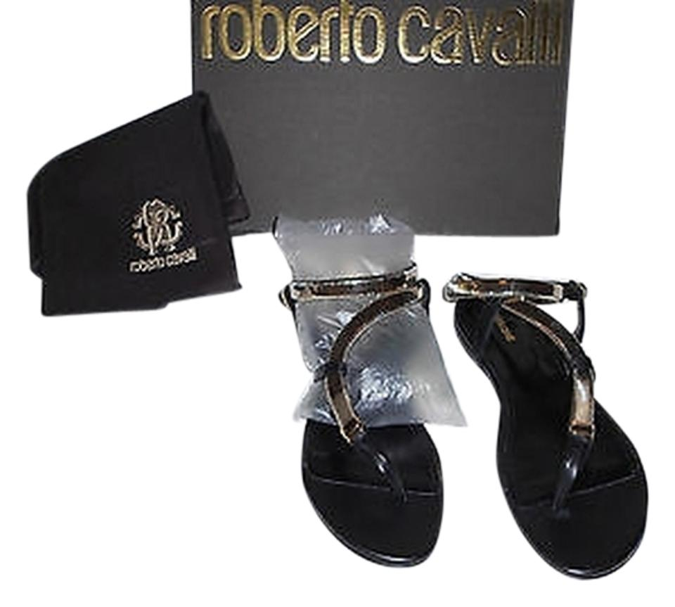 Roberto Cavalli Black/Gold Goldtone (8.5m) Snake Chain and Leather 38.5 (8.5m) Goldtone Sandals 466ddb