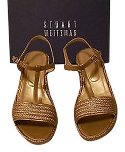 Stuart Weitzman Flatty - Burnished Metallic Quality Raffia And Leather Made In Spain Old Gold Sandals