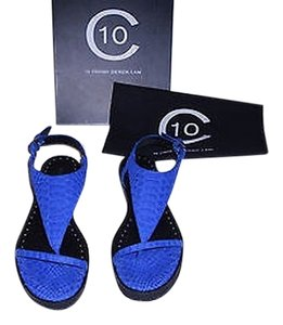 10 Crosby Derek Lam Dessa Snake Embossed Leather Studded Comfortable Royal Blue Sandals