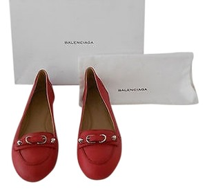 Balenciaga Strap And Buckle Studs Comfortable Made In Italy Rouge Flats