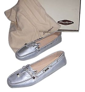 Santoni Butter Soft Leather Color Comfortable Made In Italy Silver Flats