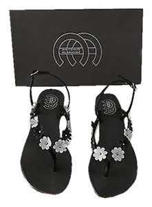 Other Fun Studded Flowers Black/White Sandals