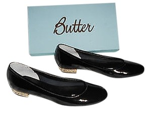 Butter Elegant Studded Heel Made In Italy Black Flats
