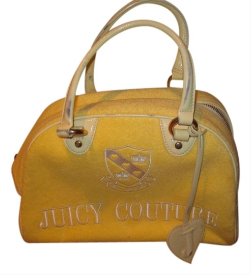 Juicy Couture Terry Cloth Bowling Gold White Handbag Stylish Satchel in Yellow