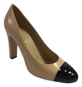 Chanel Ballet Flats Calfskin Leather Beige Pumps