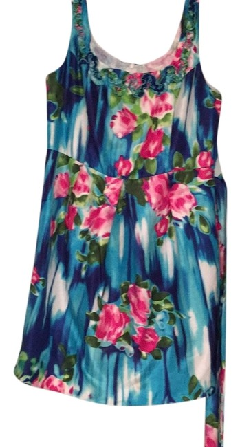 Item - Floral Sleeveless Knee Length Short Casual Dress Size 14 (L)