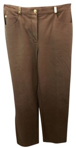 St. John Sport Stretchy Cotton Jeans Straight Pants BROWN