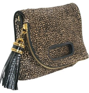 Derek Lam Leopard Calfskin Animal Print Tassels Patent Leather Velvet Brown, Black, Gold Clutch