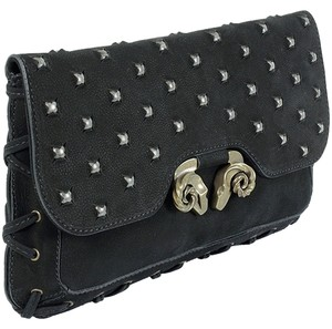 Derek Lam Animal Print Leopard Studded Black Clutch