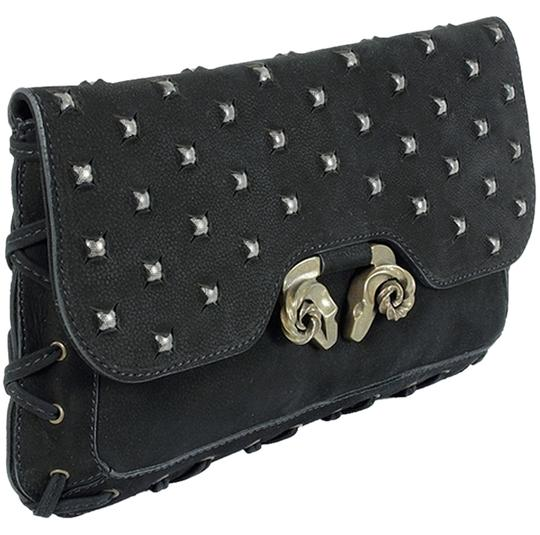 Derek Lam Animal Print Leopard Studded Suede Grommet Gold Hardware Front Flap Black Clutch