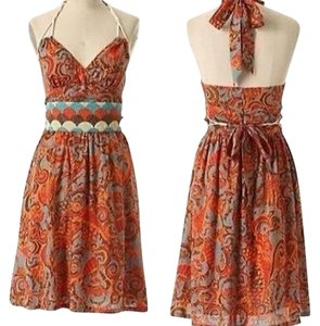Anthropologie short dress Orange, Red, Turquoise, Brown on Tradesy