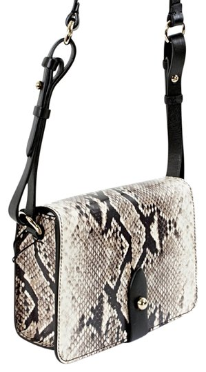 Emporio Armani Animal Print Python Print Patent Leather Silver Hardware Strap Front Flap Cross Body Bag