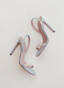 Gucci Gucci Mallory Baby Suede Crystal Embellished Strappy Sandal Heel Blue Wedding Shoes