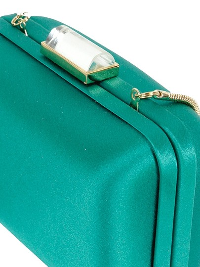 Franchi Silk Evening Gold Hardware Turquoise Clutch