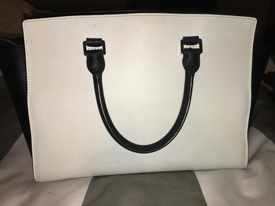 Michael Kors Selma Large And Black White Luxurious Saffiano Leather Tote fed3ba6208