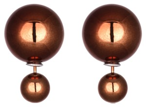 Other New Copper Double Ball Earrings Large 1 in. Studs J1668