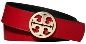 Tory Burch Tory Burch Reversible 1 1/2 Classic Tory Logo Belt Kir Royale Red Tory Navy Blue Saffiano Leather Gold Size S New