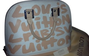 Louis Vuitton Lether Graffiti Satchel in white and beige