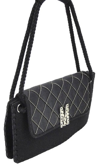 Moschino Quilted Wool Silver Hardware Logo Shoulder Bag