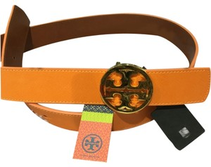 Tory Burch New Tory Burch Reversible 1 1/2 Inch Gold Tory Logo Saffiano Leather Orange Luggage Brown Belt