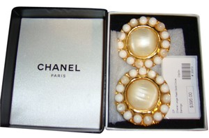 Chanel Chanel Large Camellia Flower Shaped Pearl Clip-On Earrings