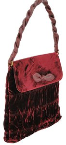 Moschino Velvet Gold Hardware Front Flap Wristlet in Red, Burgundy