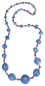 Blue Glass And Garnet Necklace