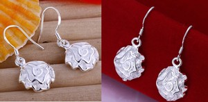 New Solid Dangle Flower Sterling Silver Jewlery Earring Ball Stud 925