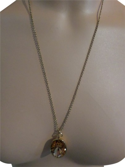 Fossil Fossil Pendant Necklace, Gold-Tone Peach Crystal Oval store display