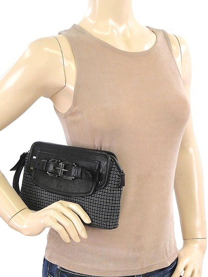 Pollini Wool Front Flap Belted Leather Black, Grey Clutch