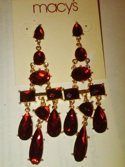 Macy's Long Red Ruby And Gold Chandelier Drop Earrings