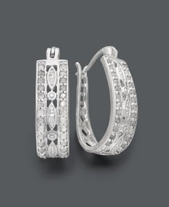 Victoria Townsend Victoria Townsend Diamond Sterling Silver Diamond Hoops (1/2 Ct. T.w.)