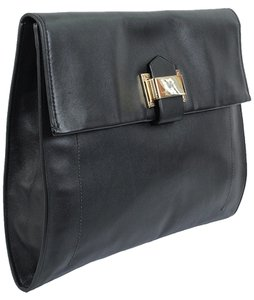 Reed Krakoff Front Flap Leather Stitching Gold Hardware Black Clutch