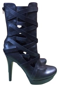 Messeca New York Strappy Sandals Platform High Heel Cut Out Stiletto Tough Rebel Sexy Comfortable Rocker Heels Concert Black Boots