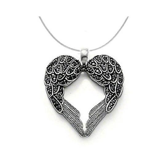Other new angel wing black necklace jewlery heart protection religious gift pendant chain