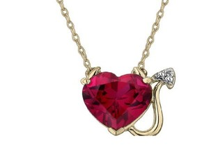 Red New Garnet Tropaz Necklace Gold Heart Chain Jewlery Statement Mother Red Gift Wedding Bridesmaid