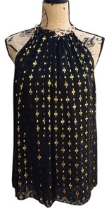 Diane von Furstenberg Chain Top Black & Gold Metallic
