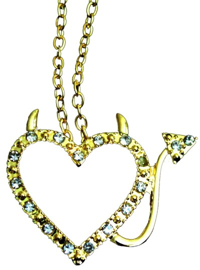 Other new gold crystal custer rhinestone heart chain necklace pendant devil new mom daughter jewlery statement