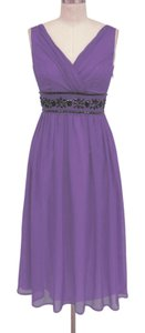 Purple Goddess Beaded Waist Cocktail Formal Dress