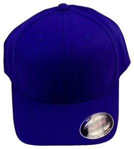 Flexfit Ball Cap Hat Flexfit Wool Blend 6-Panel, Elastic Headband -Purple,S/M