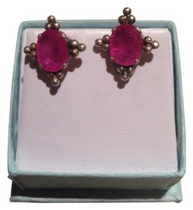 Other Oval-Cut Burmese Ruby Stud Earrings
