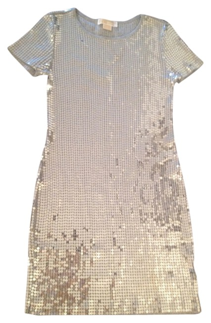 Item - Silver Sequin Mid-length Night Out Dress Size 4 (S)