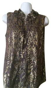 Elie Tahari Evening Sleeveless Top gold metallic and brown