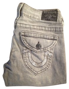 True Religion Acid Wash Boot Cut Jeans-Distressed