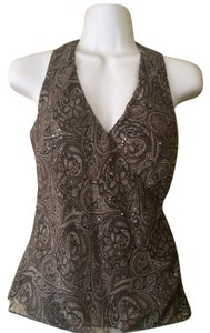 Ann Taylor Paisley Sequin Halter Top brown, beige and mocha