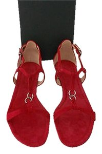 Other Silver Tone Accent Interlocking Straps Comfortable Made In Italy Red Sandals