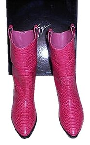 Giuseppe Zanotti I97137 Western Style Reptile Embossed Stacked Heel Made In Italy Fuchsia Boots