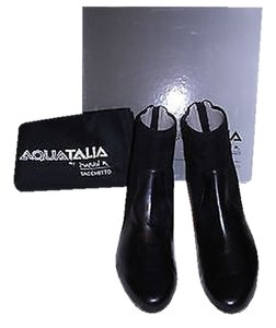 Aquatalia by Marvin K. Ulyssa Leather And Suede Design Hidden Wedge Weatherproof Italy Black Boots